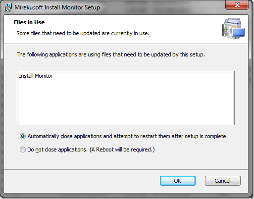 Windows Installer prompting the user to close an application in use.