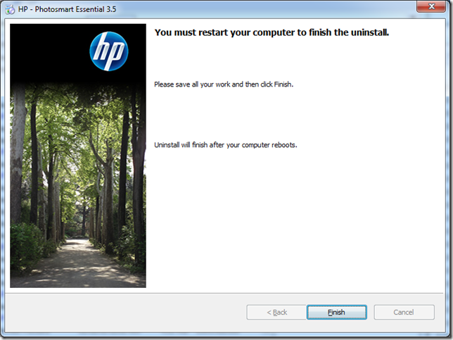 An uninstaller not giving a user a choice on whether to restart.