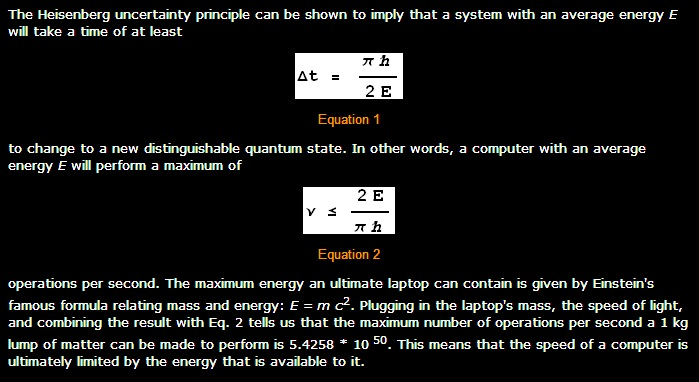 Computer Speed and the Heisenberg Uncertainty Principle