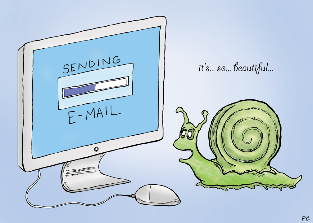 email vs snail mail Snail mail is a term used to refer to mail that is sent in the traditional way — through the postal service — rather than by email, fax, or other electronic means of communication it is given this name because it can be very slow, as is a snail postal mail generally takes two or three days.
