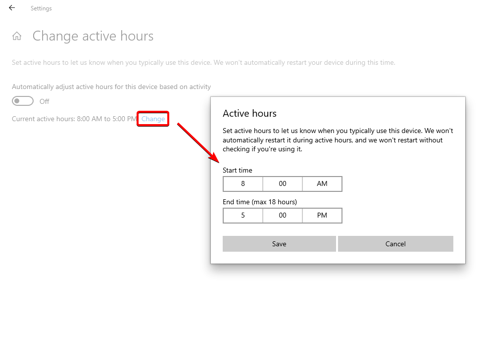 windows 10 active hours configuration