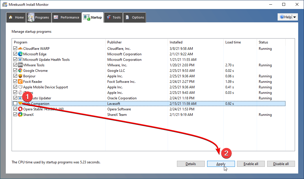 disable startup item mirekusoft install monitor