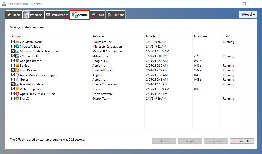 install monitor startup tab