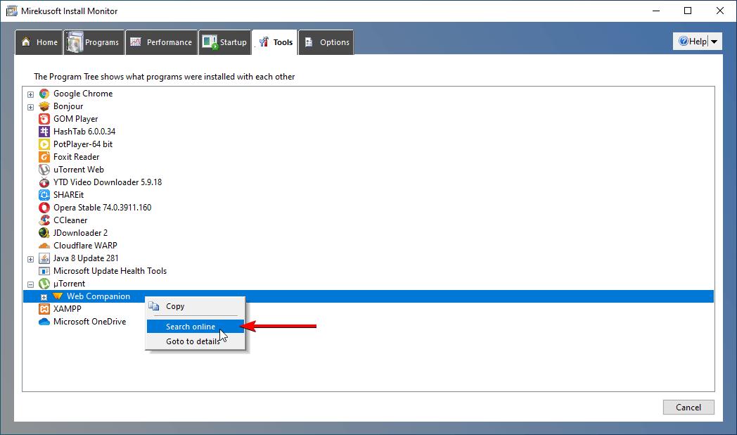 search program info online