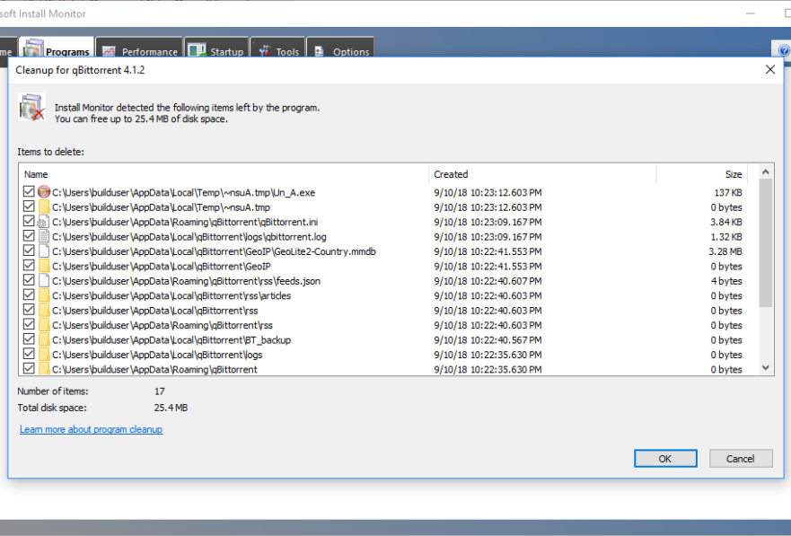 Mirekusoft Install Monitor 4 Clean Up Dialog Screenshot